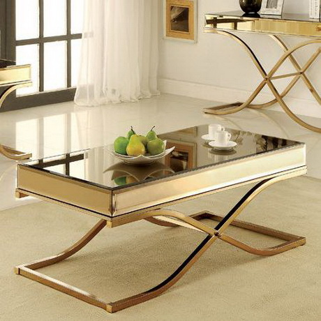CT00204 Alibaba long silver stainless steel mirror glass table