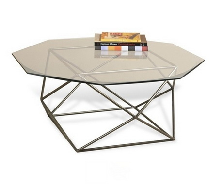 CT00221 tempered glass modern stainless steel coffee table