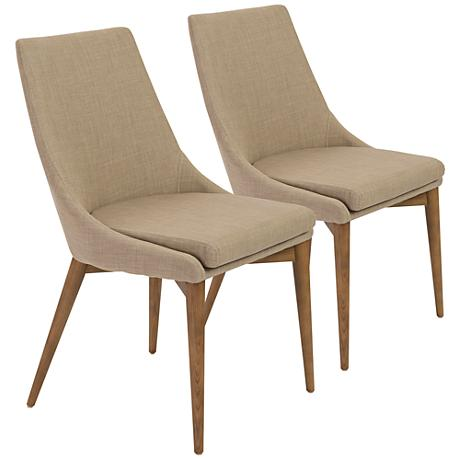 DC00006 Solid walnut wood polyester fabric dining chairs