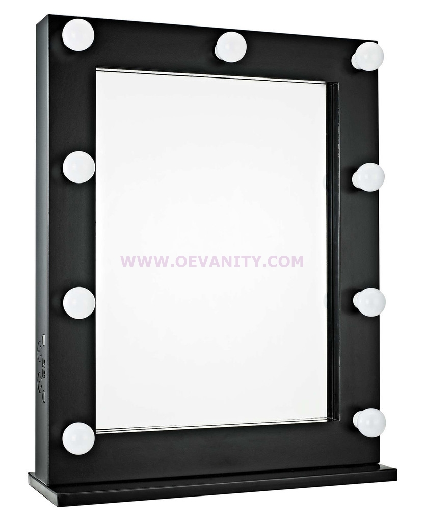 640031 GLOSSY BLACK HOLLYWOOD MAKEUP MIRROR