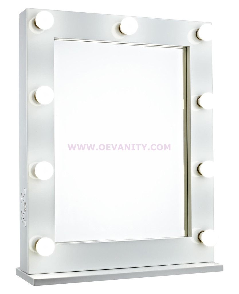 640032 GLOSSY WHITE HOLLYWOOD MAKEUP MIRROR WITH 9/12 LED BULBS
