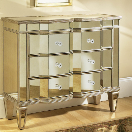 610004  Modern mirrored drawer cabinets chest