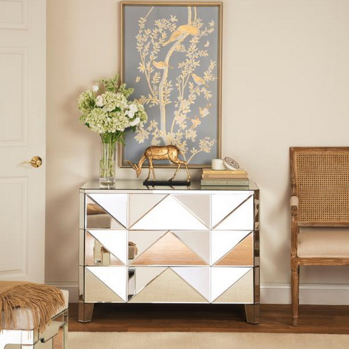 610017 Modern mirrored drawer cabinets chest