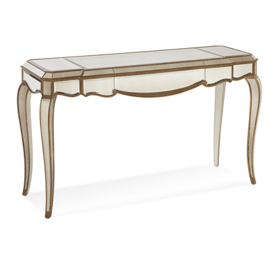 630036 half moon mirrored console table