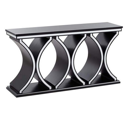 630045 half moon mirrored console table