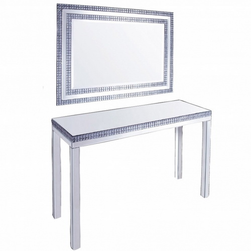 630296 glass console table mirrored console table