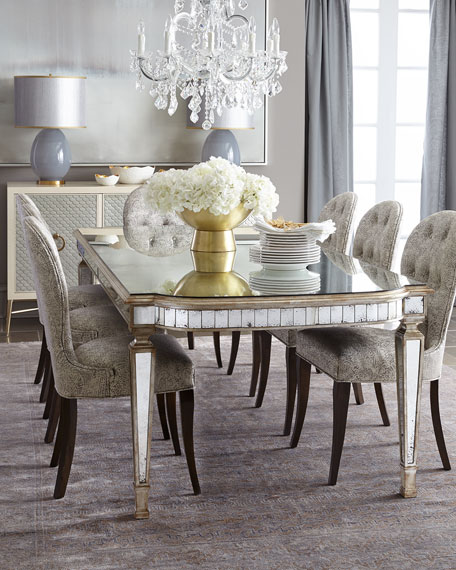 631007  Antique golden mirrored dinning table