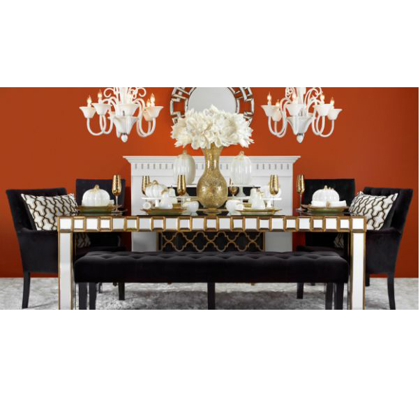 631011 Antique golden mirrored dinning table