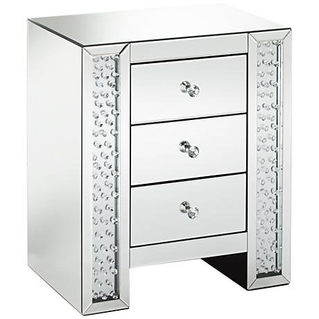 650010 wooden mirrored bedside table