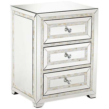 650011 wooden mirrored bedside table