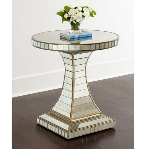 650023 wooden mirrored bedside table