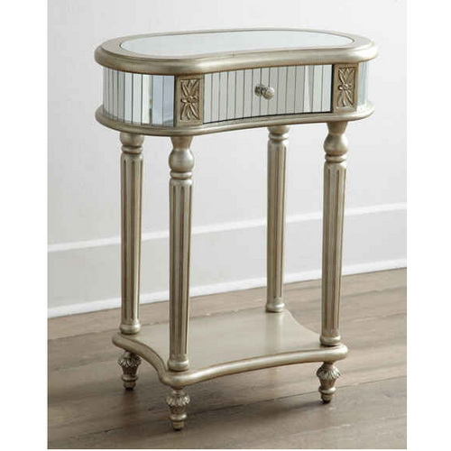 650027 wooden mirrored nightstand table