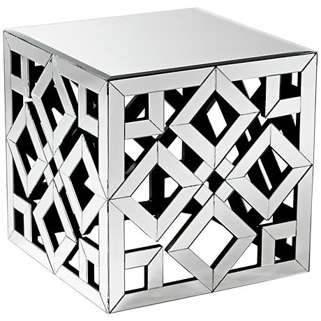 650042 wooden mirrored side table
