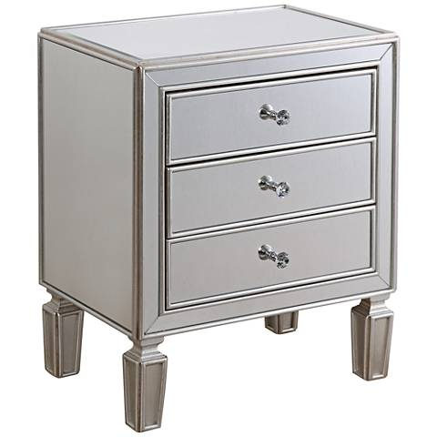 650048 wooden mirrored side table