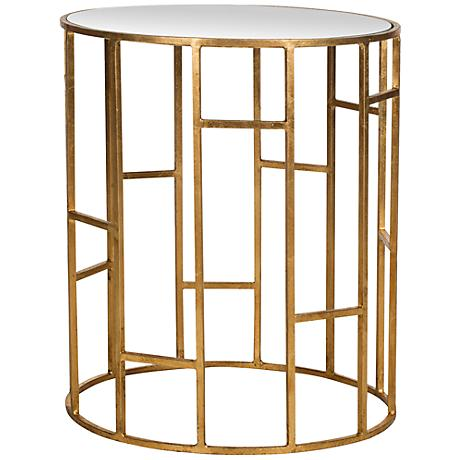 650114 Bed mirrored end table,coffee mirrored side table