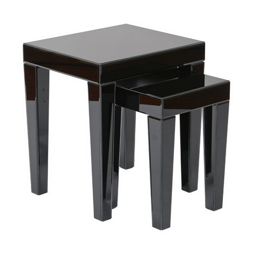 650177 Cherry wood mirrored end tables