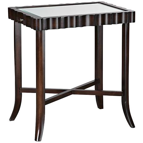 650213 luxury carved wooden corner mirrored table