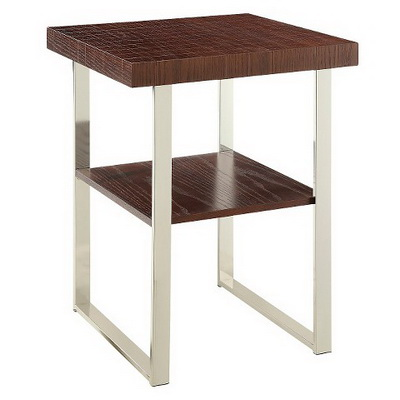ET00324 Steel end table with marble tops/tempered glass