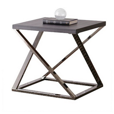 ET00345 Steel end table with marble tops/tempered glass
