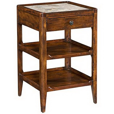 ET00391 Steel end table with marble tops/tempered glass